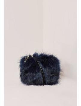 Navy Mini Faux Fur Clutch Bag by Missguided