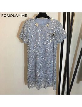 Fomolayime New Vestidos Women 2018 Fashion Designer Summer Sequins Mesh Dress Robe Femme by Fomolayime