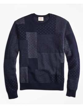 Patchwork Cotton Jacquard Crewneck Sweater by Brooks Brothers
