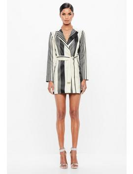 Peace + Love Silver Metallic Belted Stripe Dress by Missguided