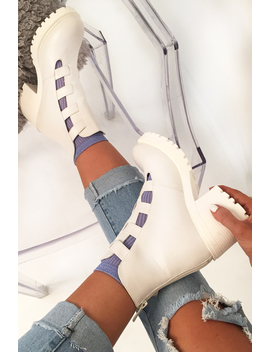 White Cut Out Buckle Detail Heeled Boots   Fredericka by Rebellious Fashion