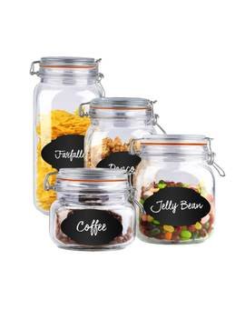 Home Basics 4 Piece Airtight Clamp Lid Glass Canister Set With 56 Reusable Chalkboard Labels by Generic