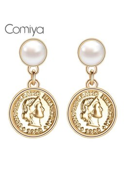 Comiya Gold Color Zinc Alloy Dangle Earrings Brincos Women Charms Brincos Jewelry Round Pendant Feminino Earring Brinco Femme by Comiya