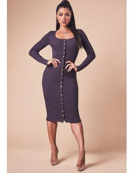 Chocolate Long Sleeve Ribbed Popper Front Midi Dress by Missguided