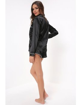 Black Long Sleeve Shirt With Shorts Set by I Saw It First