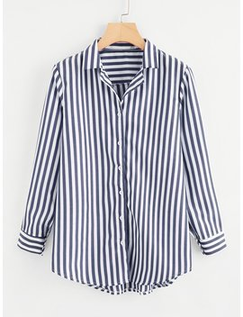 Single Breasted Striped Shirt by Romwe