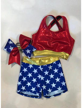 "The ""Super Hero"" Sports Bra, Star Shorts, And Optional Matching Cheer Bow / Girls Dancewear / Practice Outfit / Star Cheer Bow by Am Pt Activewear"