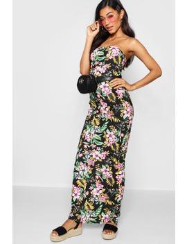 Tropical Print Bandeau Maxi Dress by Boohoo