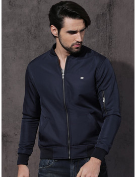 Roadster Men Navy Blue Solid Bomber Jacket by Roadster