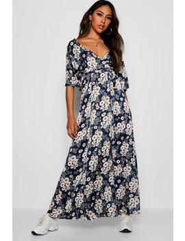 Jenny Flutter Sleeve Daisy Wrap Maxi Dress by Boohoo