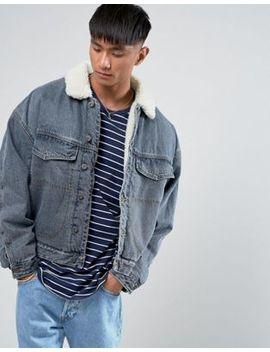 Asos – Übergroß Geschnittene Jeansjacke In Verwaschenem Blau Mit Durchgehendem Borg Futter by Asos