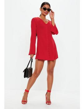 Red Flare Sleeve Button Down Skater Dress by Missguided