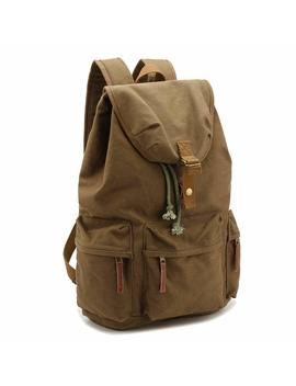 """Drf Canvas Vintage Dslr Camera Case Backpack Bag With Waterproof Rain Cover Hiking Travel Bag Fit 17"""" Laptop Bg 20 (Green) by Drf"""