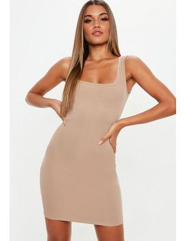 Sand Square Neck Bodycon Dress by Missguided