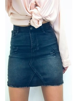 Ruby Grey Distressed Denim Mini Skirt by Misspap
