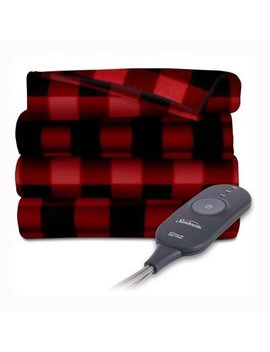 Sunbeam Electric Heated Fleece Warming Throw Blanket Red Black Plaid by Sunbeam