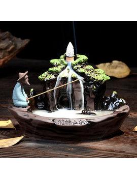 19x11.55x12cm Ceramic Art Backflow Incense Burner Censer Home Office Furnace Decor Fragrant by Newchic