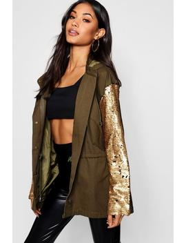 Sequin Sleeve Utility Jacket by Boohoo