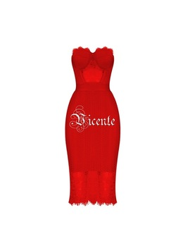 Free Shipping! 2018 New Elegant Graceful Lace Patchwork Strapless Party Celebrity Women Wholesale Bandage Dress by Vj.Gochi