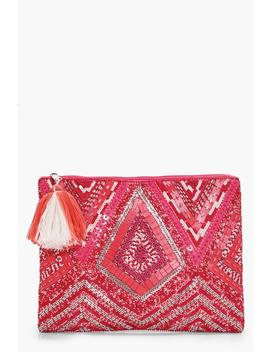 Grace Pink Embellished Zip Top Clutch by Boohoo