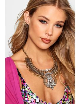 Statement Diamante Necklace by Boohoo