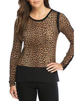 Leopard Mix Medium Crew Neck Top by Michael Michael Kors