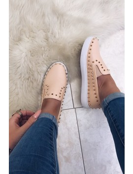 Louise Blush Studded Skater Trainers by Misspap