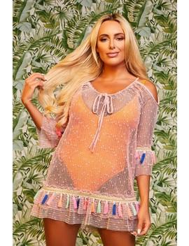 Amber Turner Blush Tassel Dress by Misspap