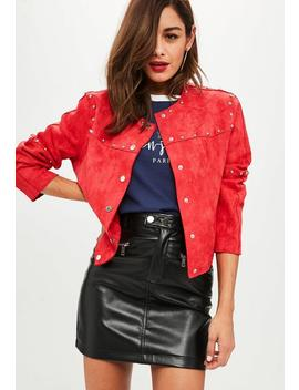 Red Studded Collarless Faux Suede Jacket by Missguided