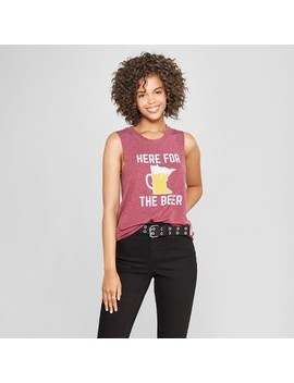 Women's Here For The Beer Graphic Tank Top   Awake Burgundy by Shop All Awake