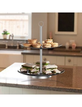 Dessert Tower Two Tier, Round Glass Display Stand For Cookies, Cupcakes, Pastries, Hors D'oeuvres And Appetizers Great For Parties By Chef Buddy by Chef Buddy