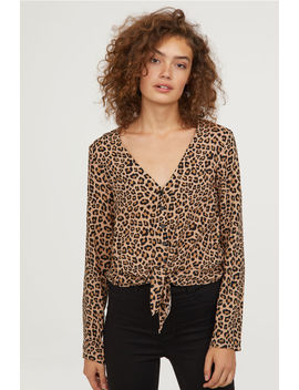 Tie Front V Neck Blouse by H&M