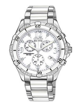 Women's Chronograph Eco Drive Diamond Accent Stainless Steel And White Ceramic Bracelet Watch 40mm Fb1230 50 A by Citizen