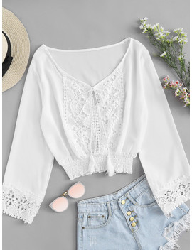 Lace Panel Fringe Tie Blouse by Shein