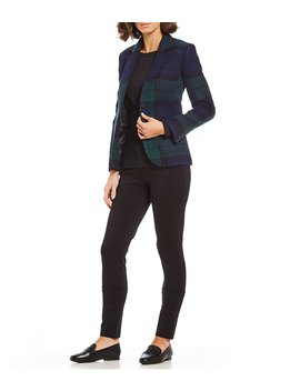 Big Black Watch Plaid Wool Blazer by Generic