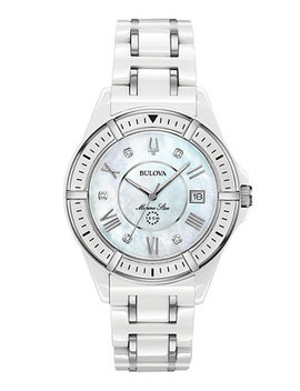 Women's Marine Star Diamond Accent White & Silver Tone Ceramic Bracelet Watch 37mm by Bulova