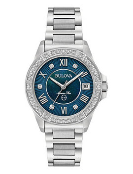 Women's Diamond Accent Marine Star Stainless Steel Bracelet Watch 32mm 96 R215 by Bulova