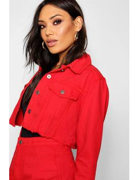 Red Crop Denim Jacket by Boohoo