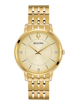 Women's Diamond Dress Diamond Accent Gold Tone Stainless Steel Bracelet Watch 36mm by Bulova