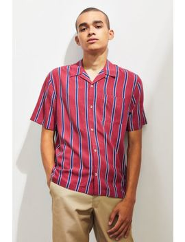 Uo Sport Striped Rayon Short Sleeve Button Down Shirt by Urban Outfitters