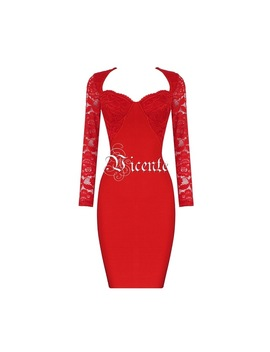 Free Shipping! Fashion Lace Mini Dress Long Sleeves Sexy V Neck Wholesale Celebrity Party Club Casual Wear Bandage Dress by Vj.Gochi