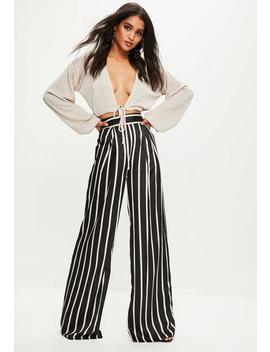 Black Petite Satin Stripe Wide Leg Trousers by Missguided