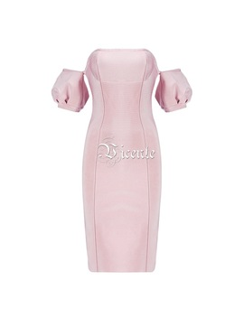 Free Shipping! Chic Puff Sleeves Midi Dress Sexy Off The Shoulder Slash Neck Wholesale Celebrity Party Casual Wear Bandage Dress by Vj.Gochi