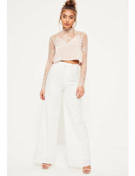 Petite White Premium Crepe Wide Leg Trousers by Missguided