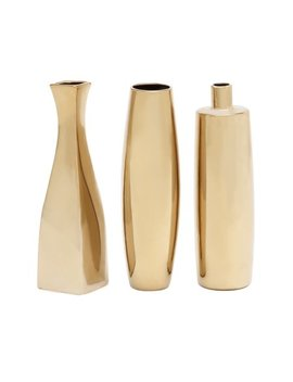 Decmode Set Of 3 Glam 12 Inch Gold Ceramic Vases, Gold by Dec Mode