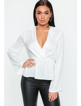 White Tailored Tuxedo Blouse by Missguided