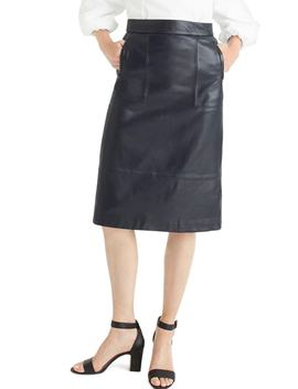 Collection A Line Leather Midi Skirt by J.Crew