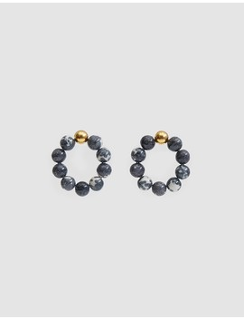 Howlite Hoop Earrings In Gold/Ink by Mirit Weinstock