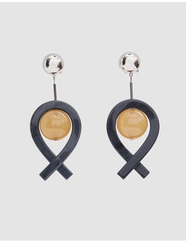 Loma Drop Earrings In Black/Camel by Rachel Comey
