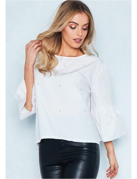 Amber White Pearl Embellished Bell Sleeve Smock Top by Missy Empire